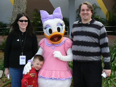 Christina, TJ & Tom with Daisy Duck
