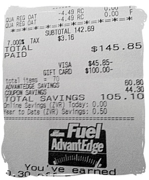 Total Savings - Price Chopper Receipt