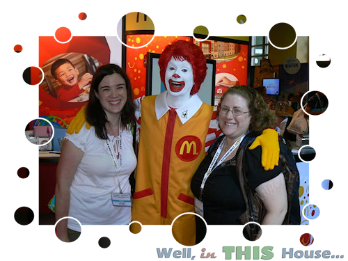 Christina and Beth Smile with Ronald McDonald at Blog Her '10