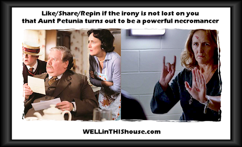 Like/Share/Repin if the irony is not lost on you that Aunt Petunia turns out to be a powerful necromancer.