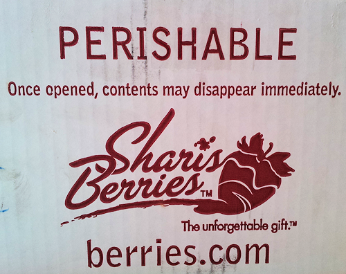 Perishable: Once opened, contents may disappear immediately. Shari's Berries.
