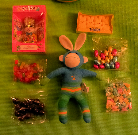 Sock Monkey and Easter Candy